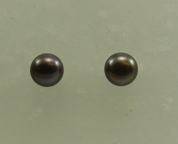 Freshwater Black Button Shape Pearl Earring 14k White Gold Post and Push Back