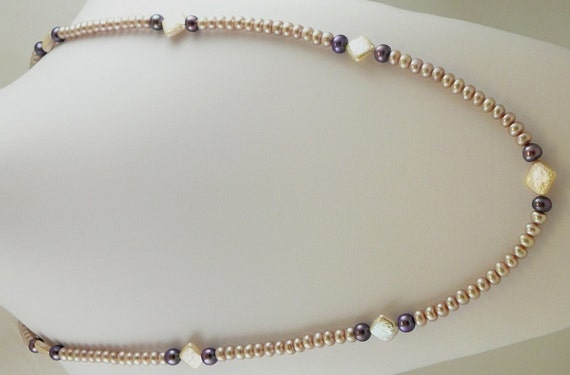 "Freshwater Pink and Purple Pearl 5-12mml Necklace 46"" Long"