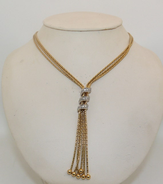 14k Yellow Gold and Cubic Zirconia Lariat Necklace 18 1/2 Inches Long