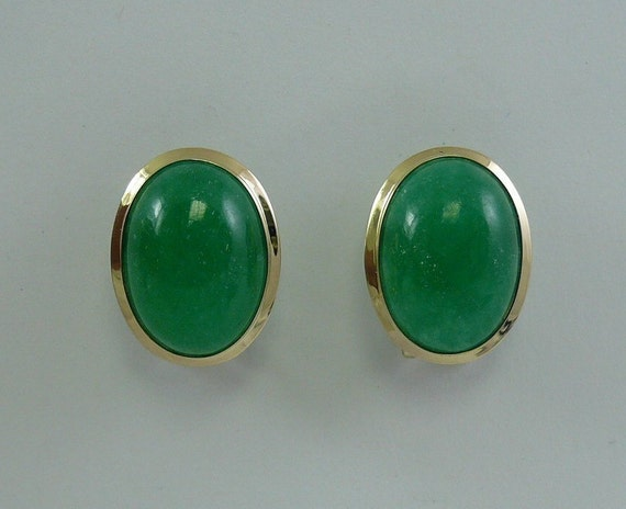 Green 13 x 18 mm Jade Earrings 14k Yellow Gold