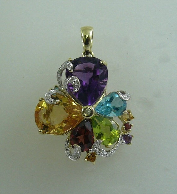 Multi-Color 7.18ct Gemstone Pendant, 14K Yellow Gold & Diamonds 0.05ct