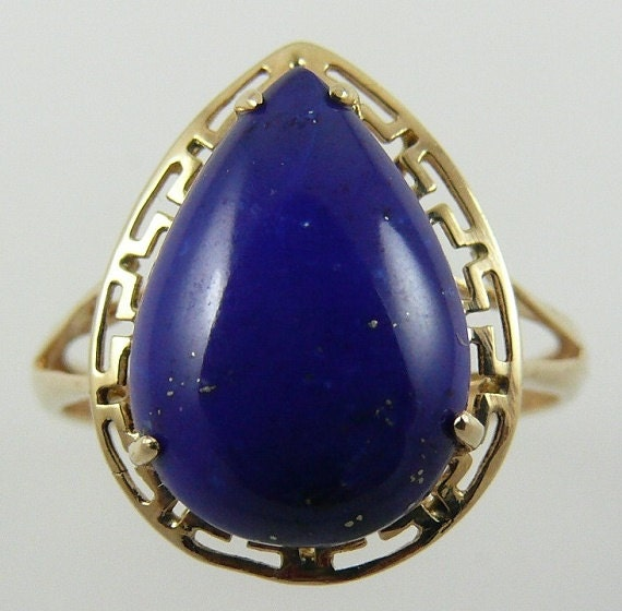 Lapis 10 mm x 14.2 mm 14k Yellow Gold