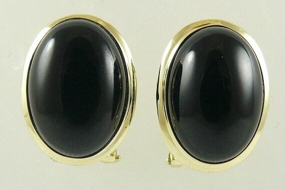 Black Onyx 10.0 MM x 14.0 MM Earring 14k Yellow Gold
