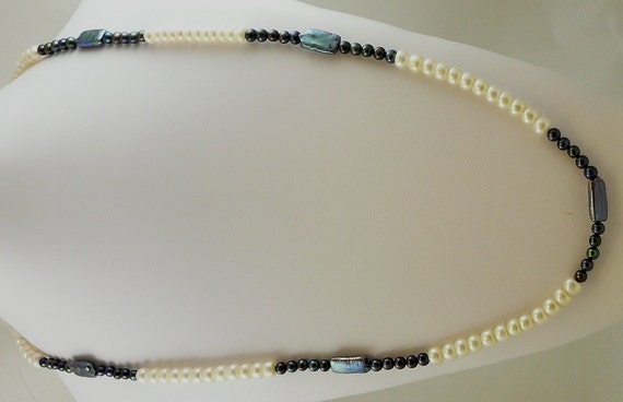 Freshwater Black and White Button and Fancy Shape Pearl 5-7mm Necklace 48""
