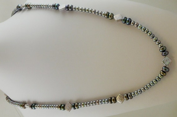 Freshwater Black and Gray Pearl 5 - 10mm Necklace 47 Inches