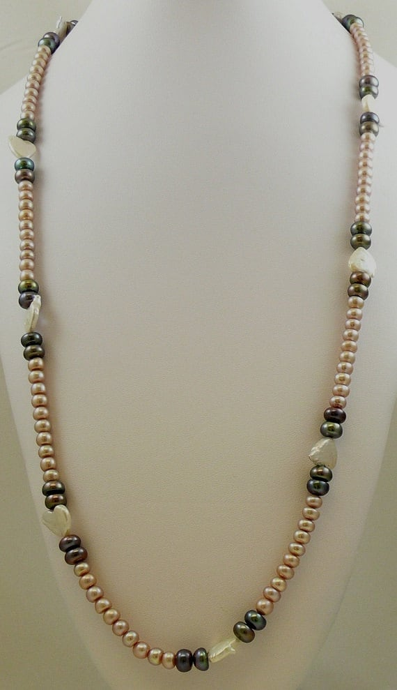 Freshwater Pink, Black and Gray Pearl Necklace