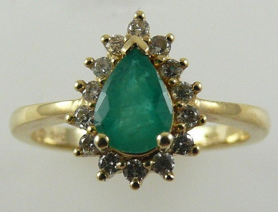 Emerald 0.57ct Ring 14k Yellow Gold with Diamonds 0.21ct