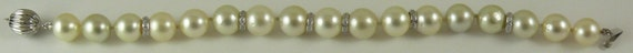 South Sea White10.0mm x 10.9mm Pearl Bracelet 14k White Gold & Diamond Rondels
