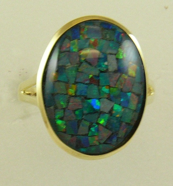 Mosaic 13 mm x 18 mm Opal Ring With 14k Yellow Gold, Size Selectable