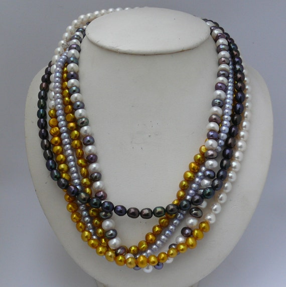 Freshwater Pearl 5 Single Necklaces Of Different Colors, Sterling Silver Clasp