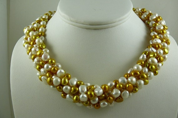 Freshwater White and Golden 6 Strands Choker Necklace with 14k White Gold Clasp
