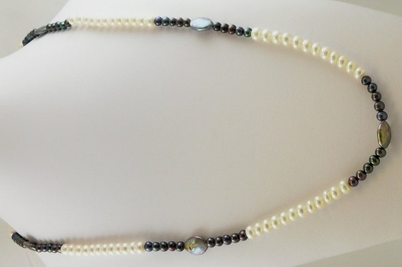 "Freshwater Black and White Pearl 5-7mm Necklace 47"" Long"