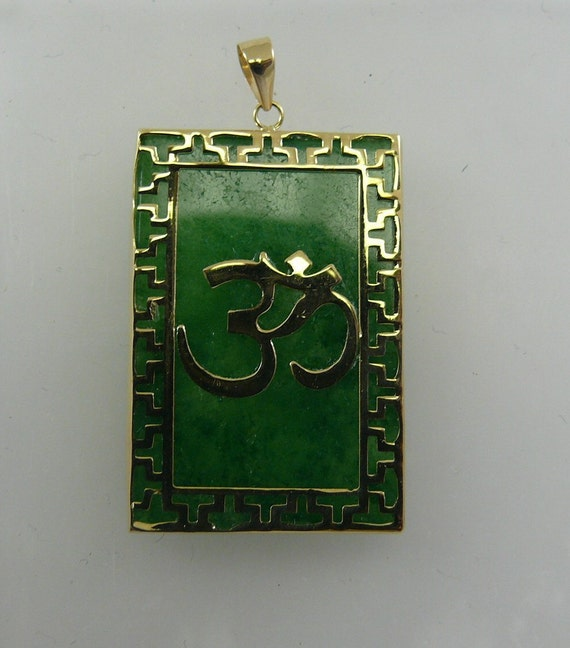 Green Jade Om Pendant 14k Yellow Gold