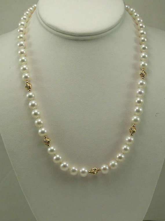 Freshwater White Pearl Necklace with 14k Yellow Gold Beads and Clasp