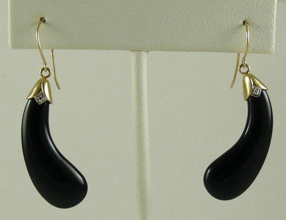 Black Onyx 11mm x 30mm Earring with Diamonds 0.01ct 14k Yellow Gold
