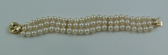 Freshwater Pearl Triple Strand Bracelet with 14k Yellow Gold Clasp and 2 Bars