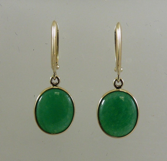 Green Jade Earrings 14k Yellow Gold