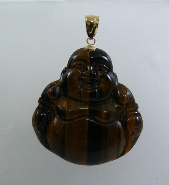 Tiger Eye Buddha Pendant 14k Yellow Gold Bail