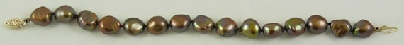 Freshwater Chocolate 11.1mm x 9.5mm Baroque Pearl Bracelet 14KY Gold Clasp 8""
