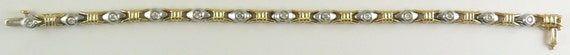 Diamond Bracelet,14k White & Yellow Gold with Diamonds 0.49ct, 7 Inches Long