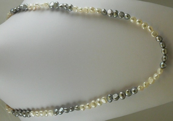 """Freshwater Grey and White 46"""" Long Pearl Necklace"""