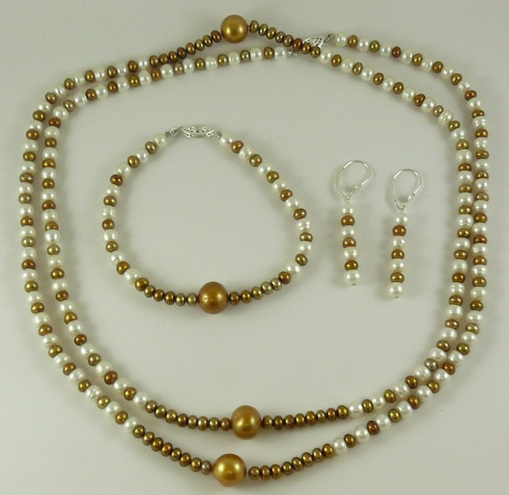 Freshwater White and Golden Pearl Necklace, Earring and Bracelet Set with silver
