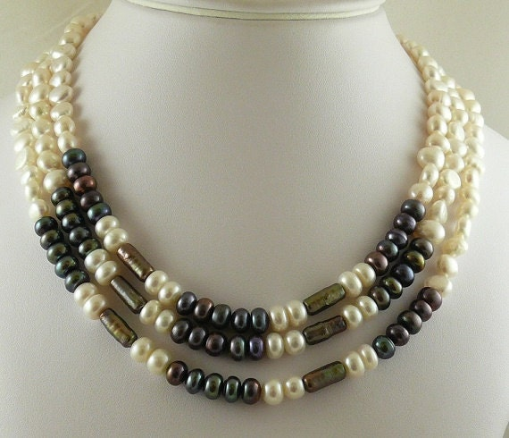 Freshwater Multicolor Pearls Triple Strand Necklace and Goldfilled Clasp 17 1/4""