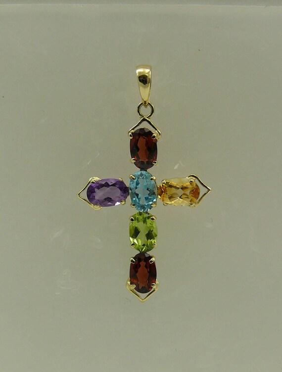 Cross Multi-Color 2.85ct Gemstone Pendant, 14K Yellow Gold