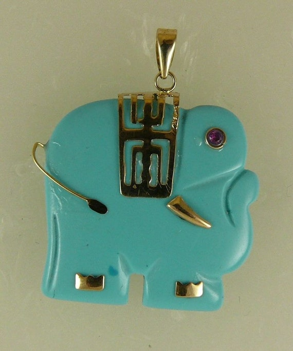 Reconstituted 22.8 mm x 22.5 mm Turquoise Elephant Pendant with 14K Yellow Gold