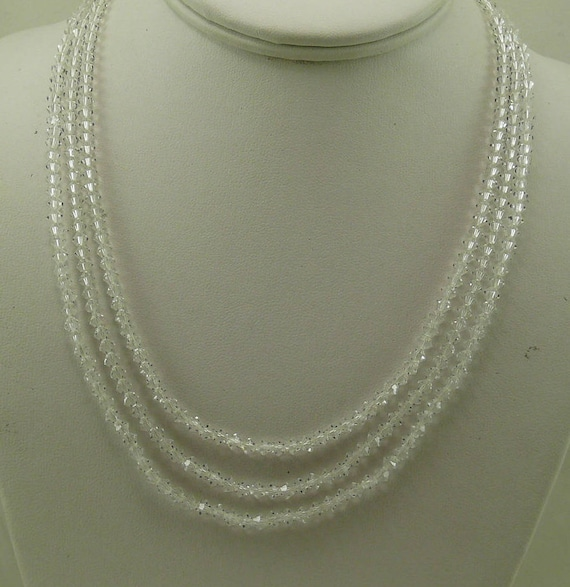 Clear Czech Crystal Triple Strand Necklace with Silver Clasp
