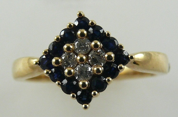 Sapphire 0.50ct Ring 14k Yellow Gold & Diamonds 0.13ct