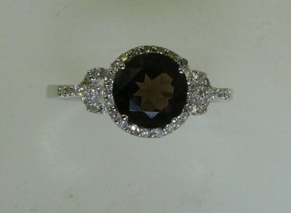 Smokey Topaz 1.40ct Ring with Diamonds 0.19ct 14k White Gold