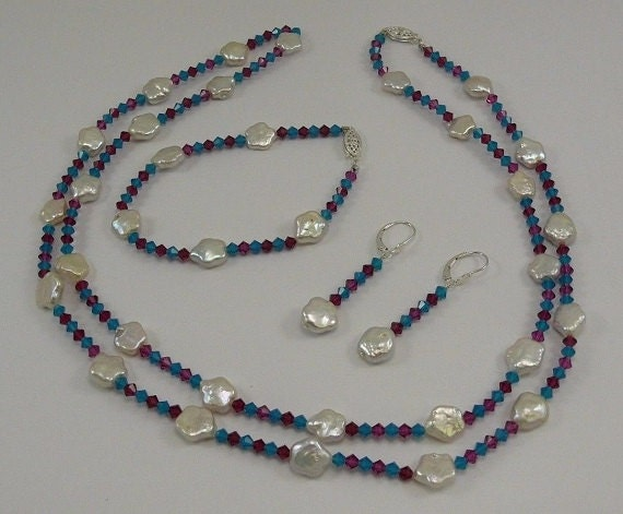 Freshwater Pearl Necklace, Earring and Bracelet with Crystal Set in Silver