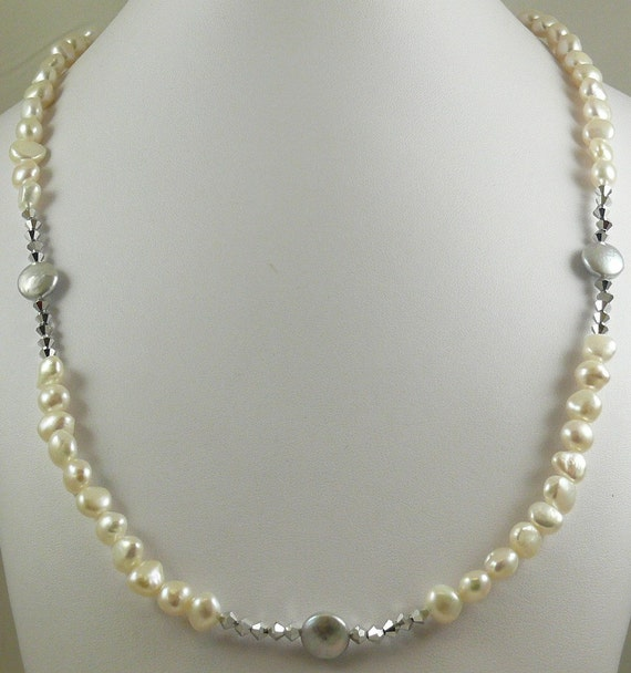 Freshwater White and Grey Pearl Necklace with Comet Crystal 34 Inches