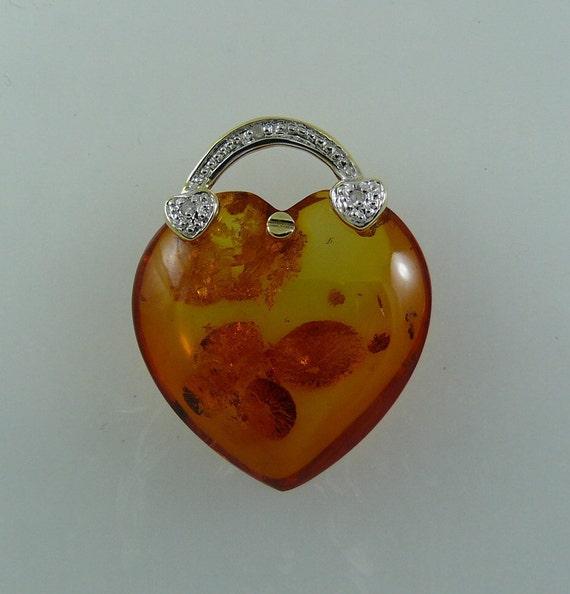 Amber 20mm x 20mm Pendant 14k Yellow Gold & Diamonds 0.02ct
