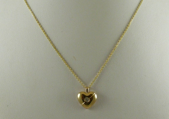 "Diamond 0.06ct Heart Pendant With 14K Yellow Gold Chain 18"" Long"