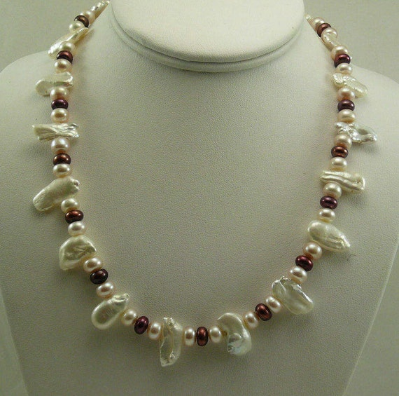 Multi-Color Freshwater Pearl Necklace with 14k White Gold Fish Clasp