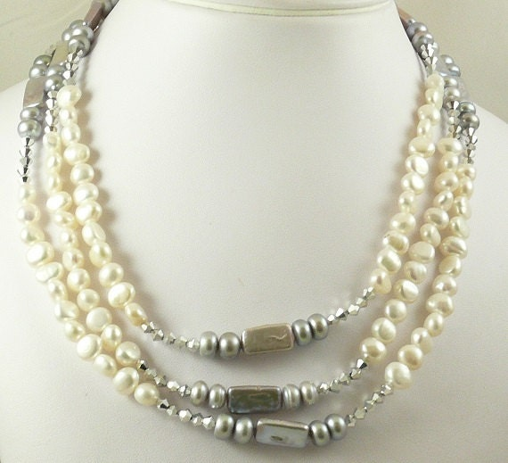 """Freshwater White and Gray Rondel Pearl and Austrian Crystal Triple Strand Necklace 18"""" Long"""
