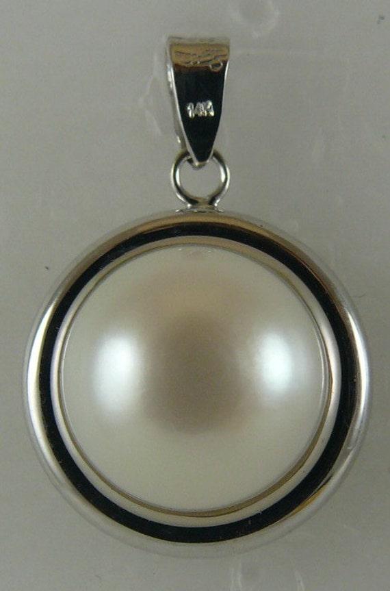 Fresh Water White Pearl 10.4mm Pendant 14k White Gold