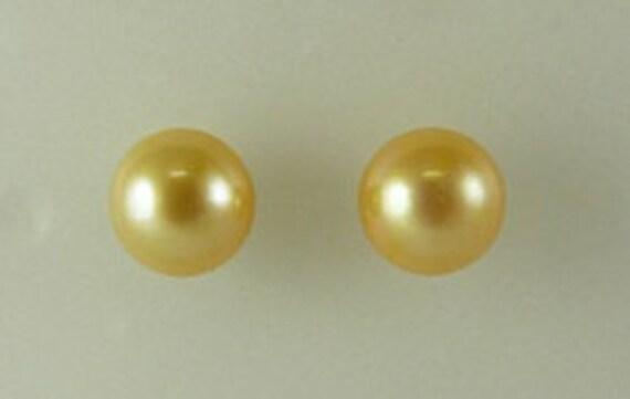 Freshwater Golden 8.5 mm Pearl Stud Earrings 14k White Gold
