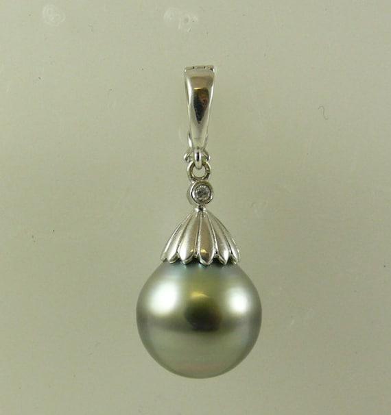 Tahitian Black Pearl Pendant and Diamonds 0.02ct 18k White Gold