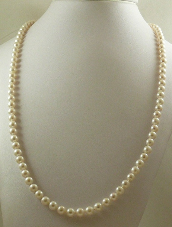 """Freshwater Pearl Necklace 7.1mm 14k Yellow Gold Clasp 36"""""""