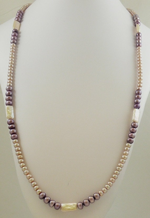 Freshwater Pink and Purple Rondel and Fancy Shape Pearl 5 - 8mm Necklace 48""