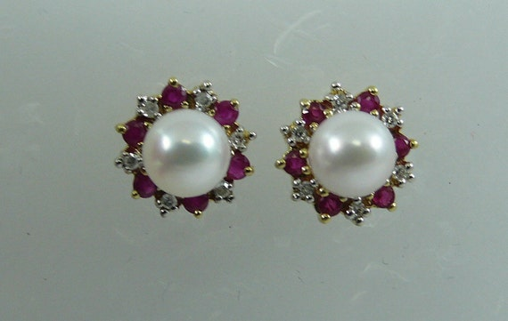 Akoya 6.2 mm Pearl Earring and Ruby 0.47ct and Diamond Jackets 14k Yellow Gold