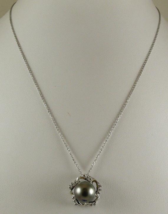 "Tahitian Black 11.5mm Pearl Pendant 18k White Gold & Diamonds 0.34ct, 18"" Chain"