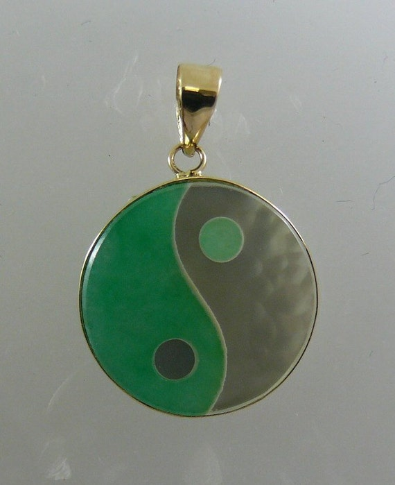 Green Jade and Mother of Pearl Yin Yang Pendant 14k Yellow Gold