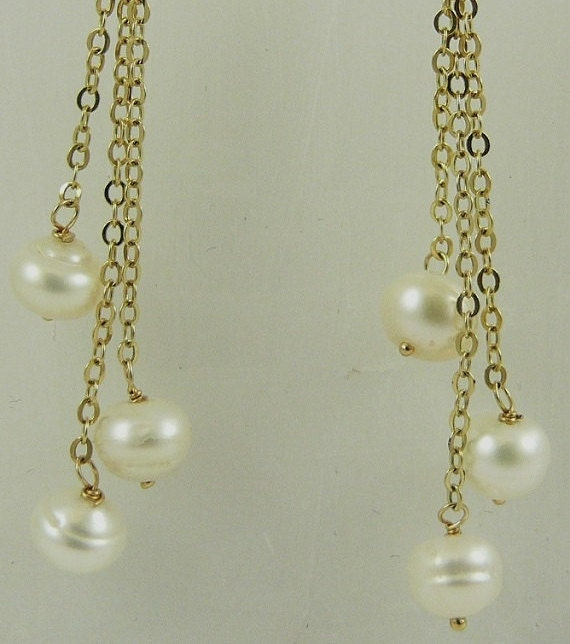 Freshwater White Pearl Triple Strand Hanging Earring 14k Yellow Gold Leverbacks