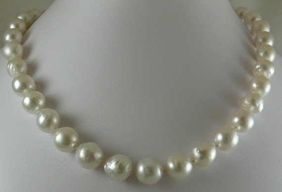 South Sea White 12.3m x12.8mm Baroque Pearl Necklace 14K Yellow Gold Clasp 18.5""