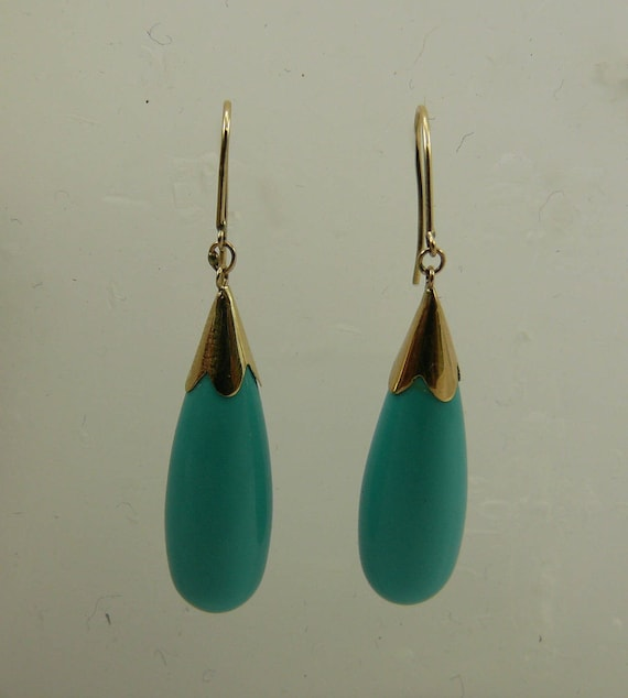 Turquoise Earring 14k Yellow Gold
