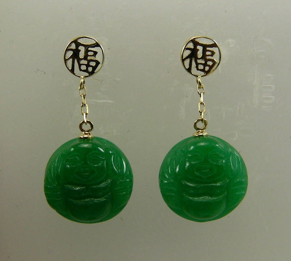 Green 12.6 mm Jade Dangle Buddha Earring 14k Yellow Gold